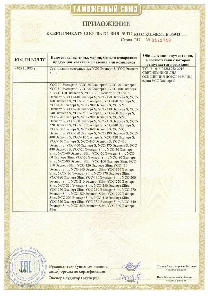 Сертификат соответствия Таможенного союза на светильники УСС Эксперт S, УСС Эксперт Slim. Приложение 1