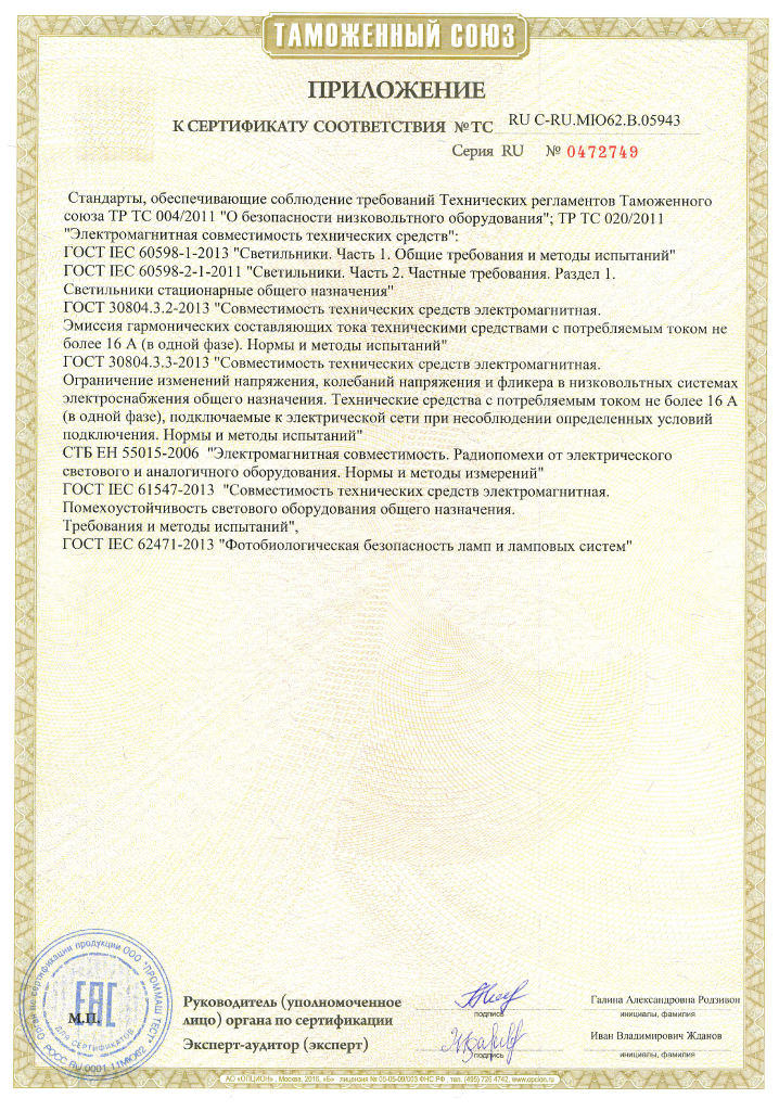 Сертификат соответствия Таможенного союза на светильники УСС Эксперт S, УСС Эксперт Slim. Приложение 2