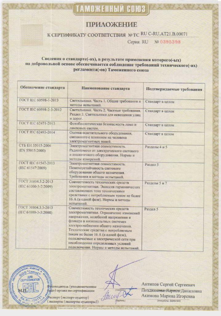 Сертификат соответствия Таможенного союза на светильники УСС Катана. Приложение 1