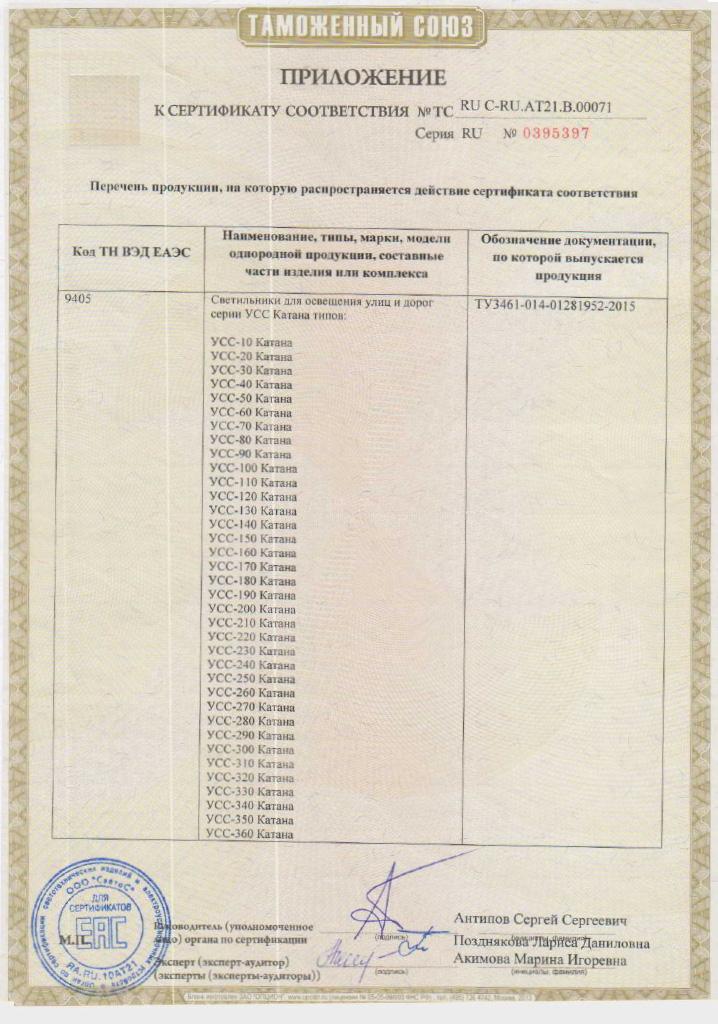 Сертификат соответствия Таможенного союза на светильники УСС Катана. Приложение 2