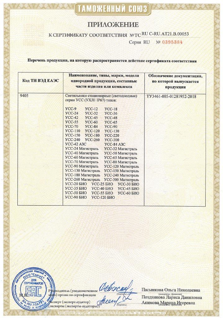 Сертификат соответствия Таможенного союза на светильники УСС (стандартное и низков. исполнение) Приложение 1