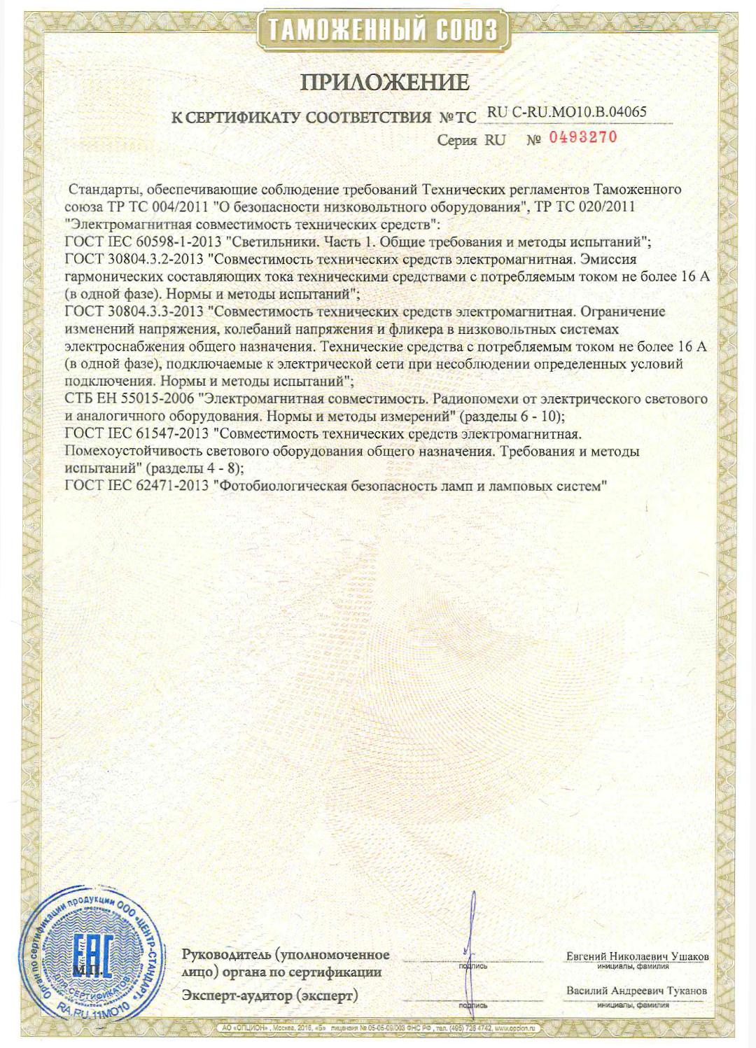 Сертификат соответствия Таможенного союза на светильники СПВО. Приложение