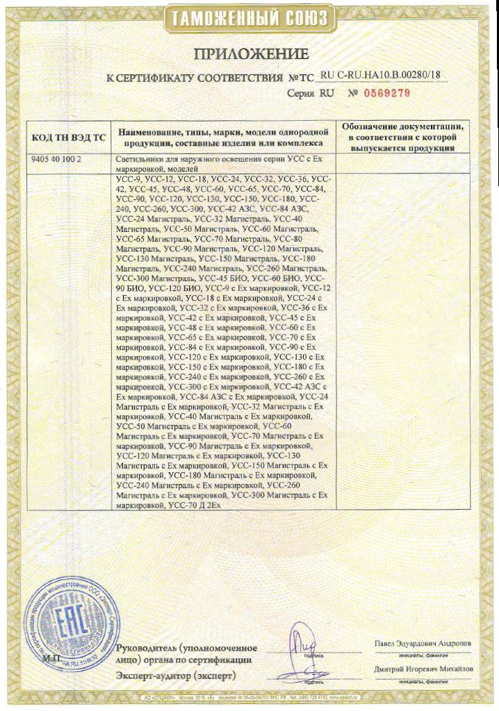 Сертификат соответствия Таможенного союза на светильники УСС (стандартное и взрыв. исполнение) Приложение 1