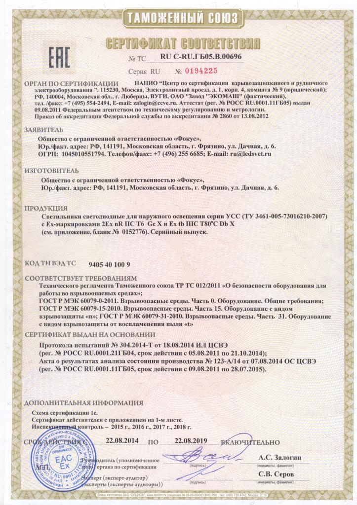 Сертификат соответствия на взрывозащищенные светильники УСС