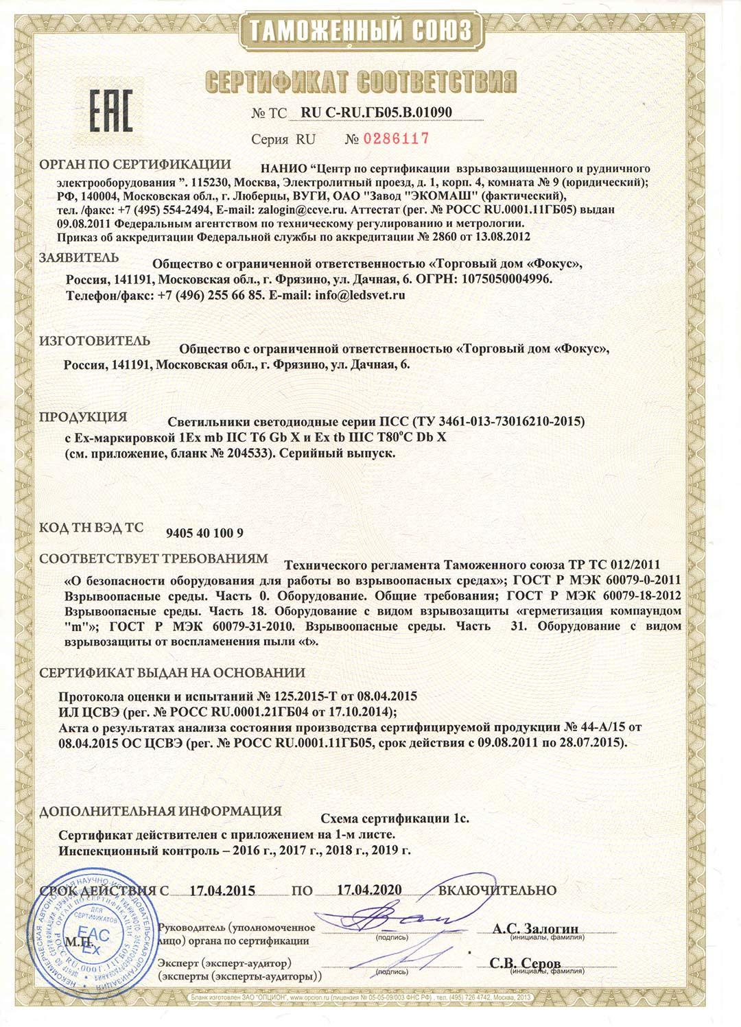 Сертификат соответствия Таможенного союза на светильники ПСС Ex